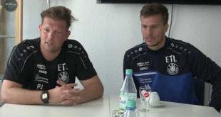Pressekonferenz zum Pokalspiel gegen Hainsberg, Björn Joppe verrät seinen Plan...mit Patrick Wolf